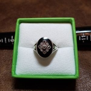 Jewelry - Sterling silver onyx and marcasite ring, size 7.5